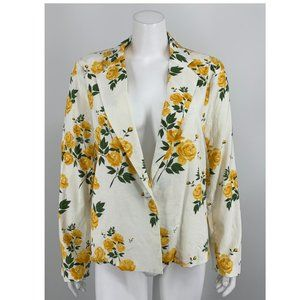 NEW L'Academie Yellow Floral Blazer Small G66